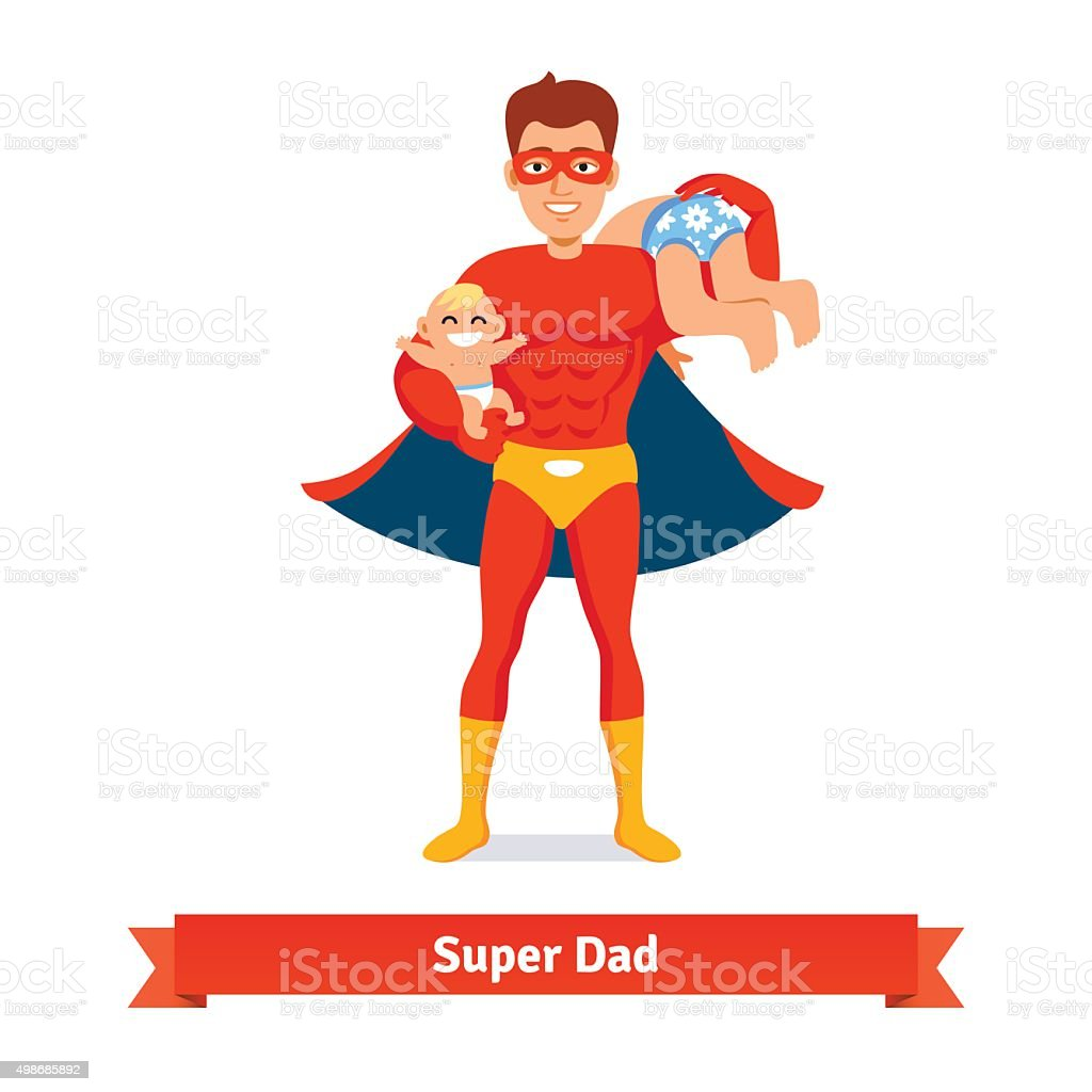 Superhero dad. Father taking care of two sons vector art illustration