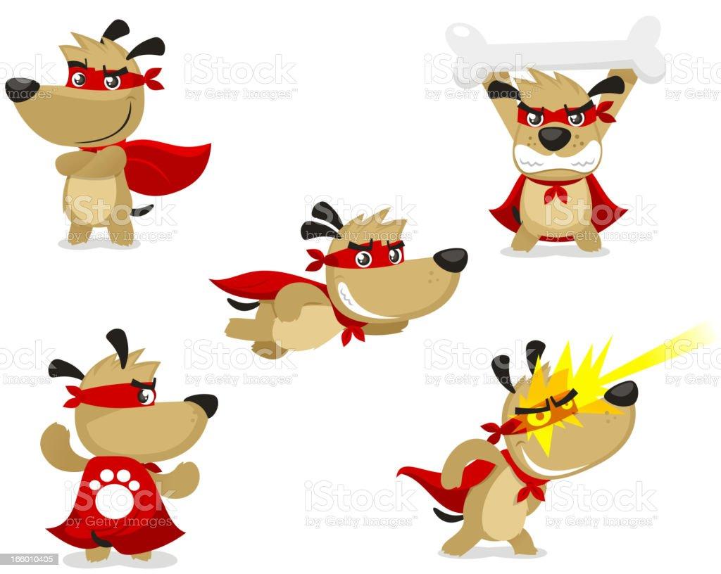 Superhero dog in super hero situations royalty-free stock vector art