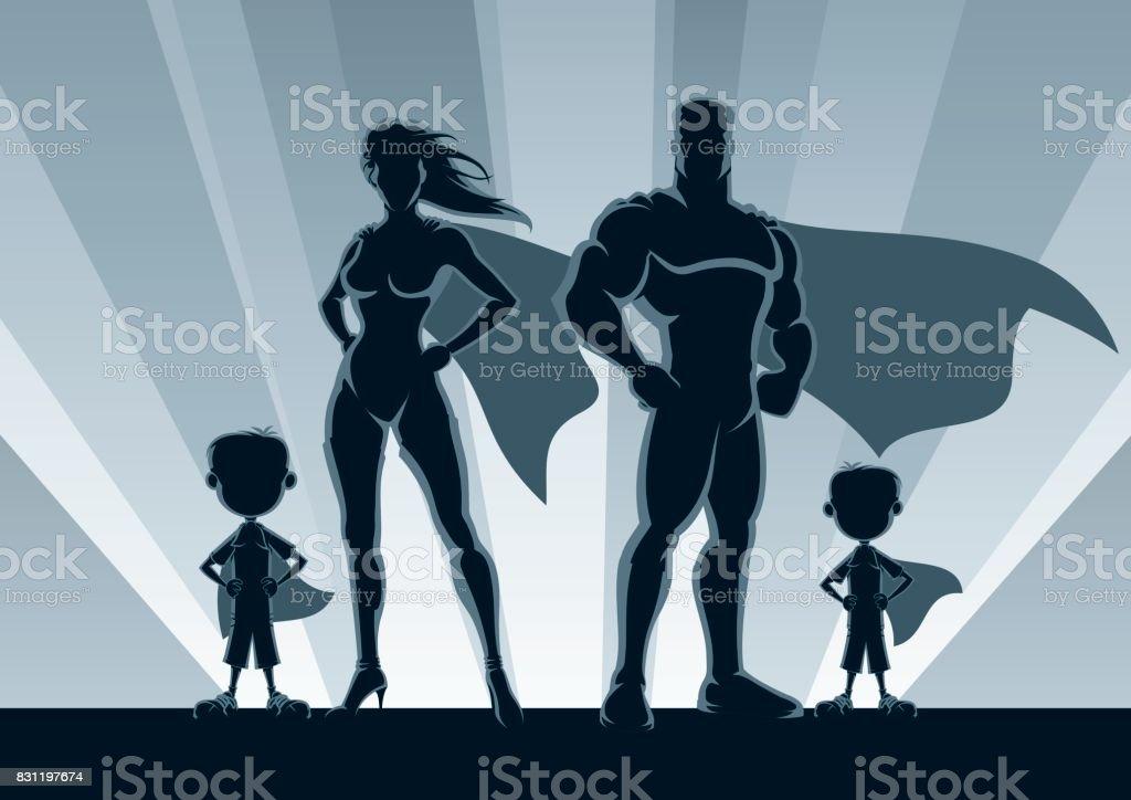 Superhero Family 2 Boys vector art illustration