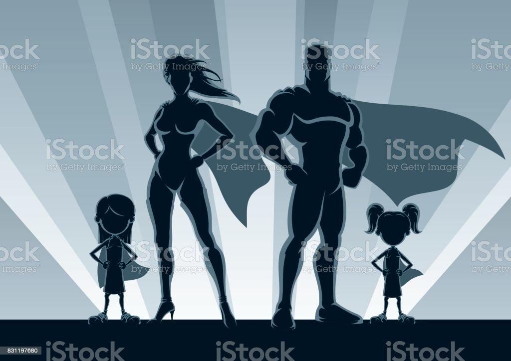 Superhero Family 2 Girls vector art illustration