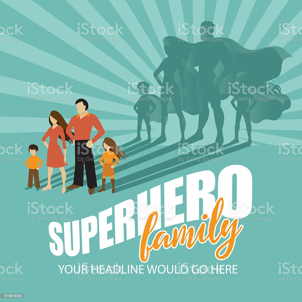 Superhero Family burst background vector art illustration