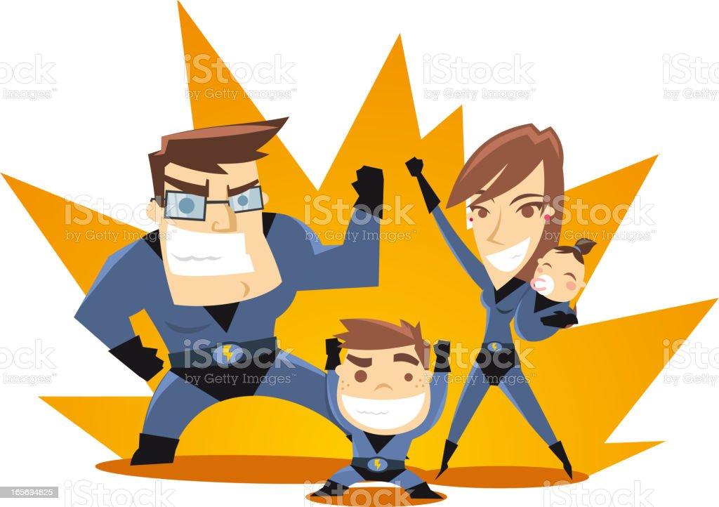 Superhero Family ready to work royalty-free stock vector art