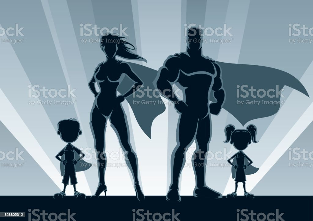 Superhero Family Silhouettes vector art illustration