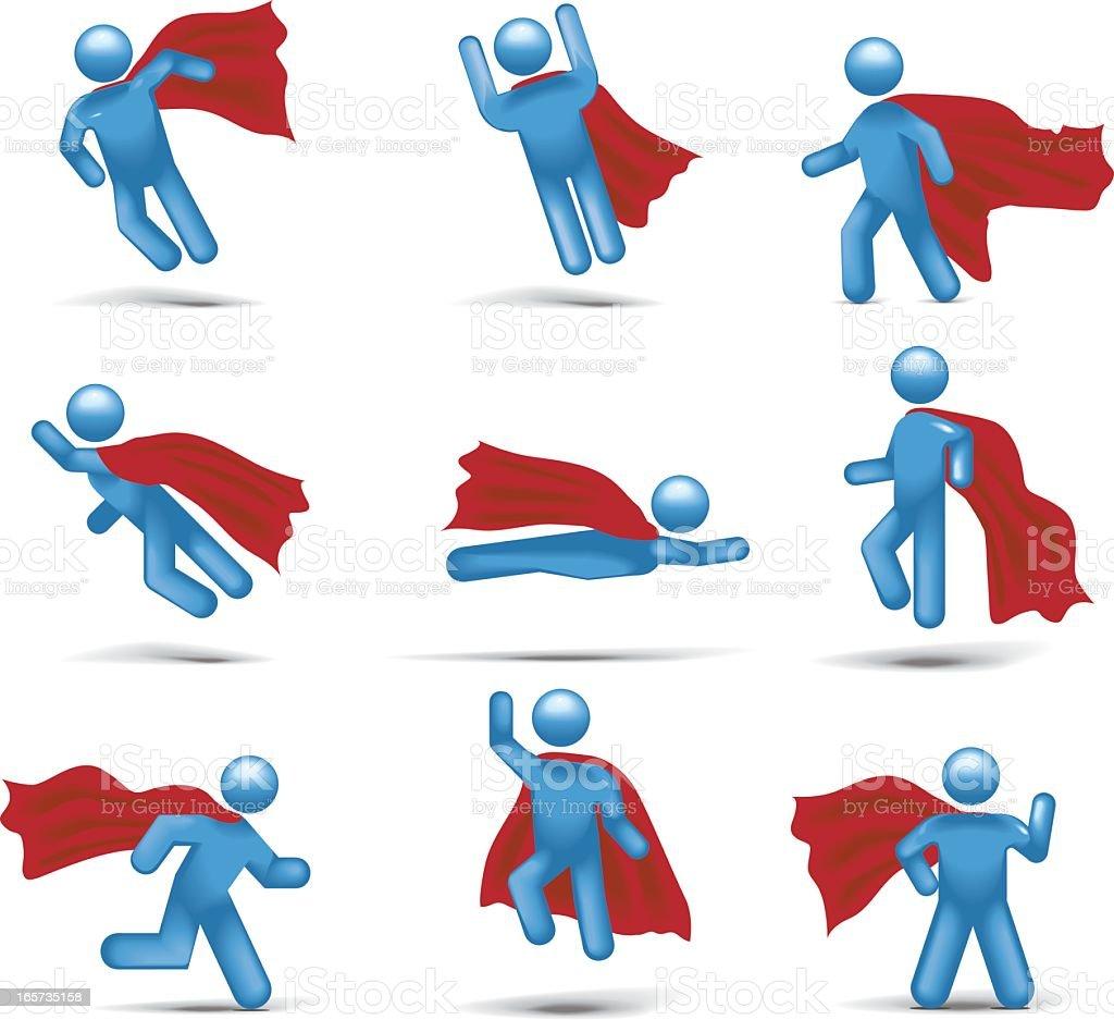 Superhero Flight: Stickman 2.0 vector art illustration
