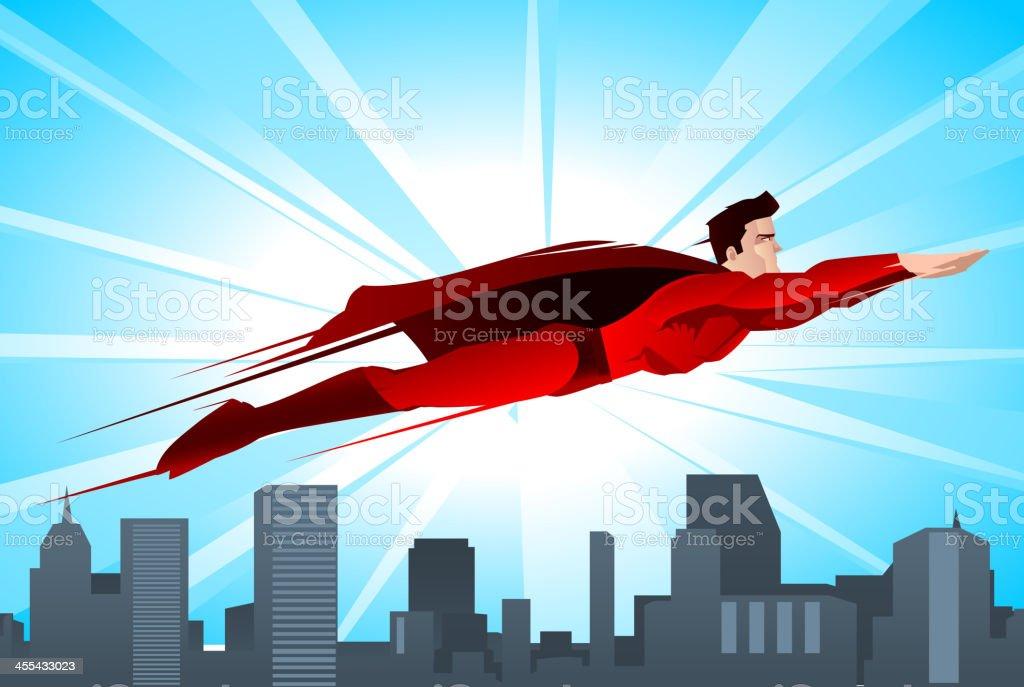 Superhero flying over the city vector art illustration