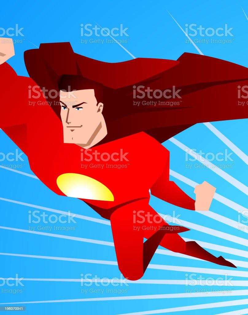 Superhero flying ready to save the world vector art illustration