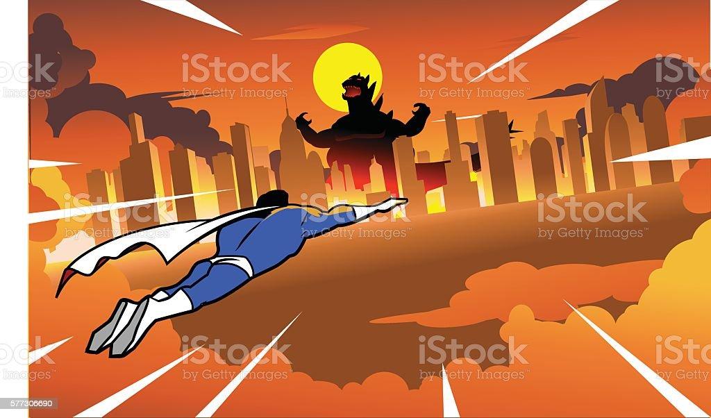 Superhero flying to fight rampaging monster in the city vector art illustration