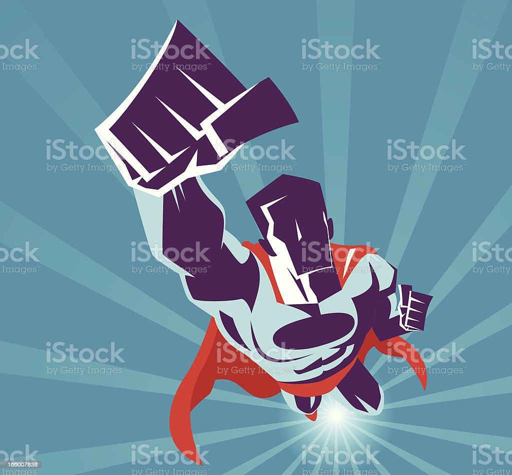 Superhero flying vector art illustration