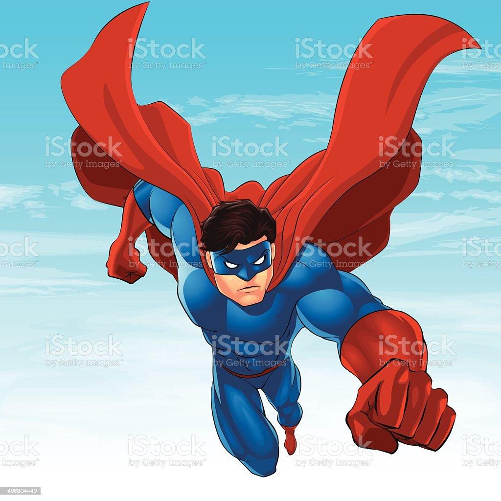 Superhero Flying vector art illustration