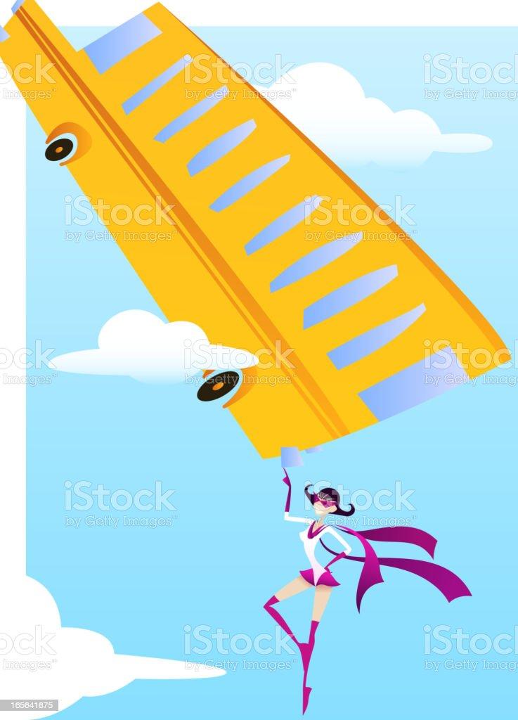 Superhero flying woman saving school bus from abysm royalty-free stock vector art