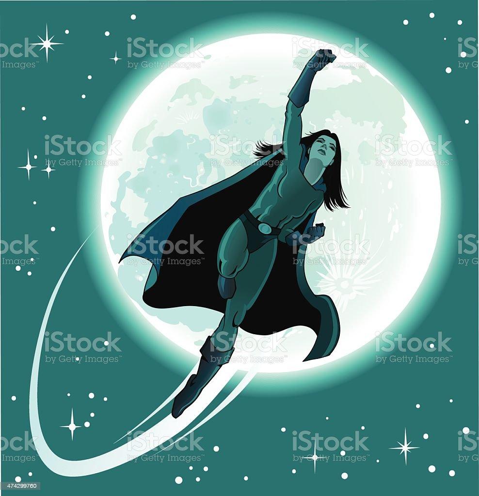 Superhero Girl From the Moon vector art illustration