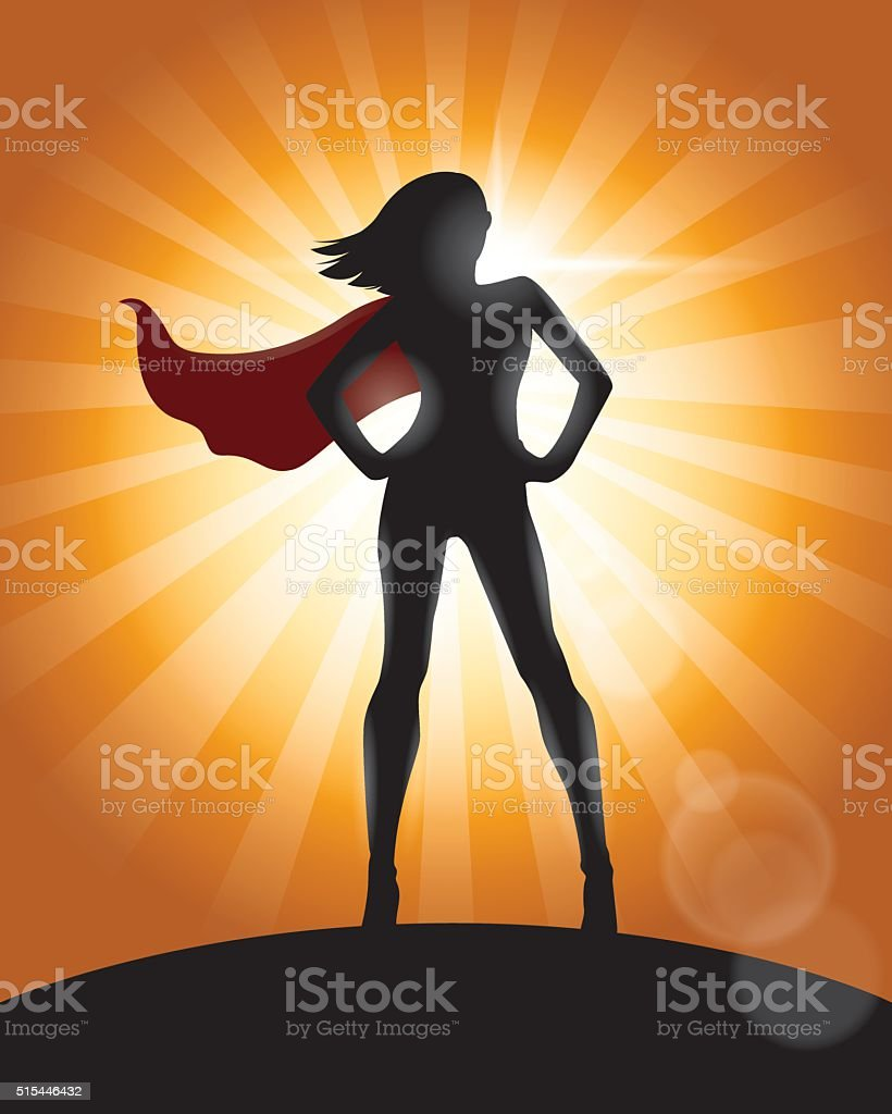 Superhero Girl Standing with Cape Waving in the Wind Silhouette vector art illustration