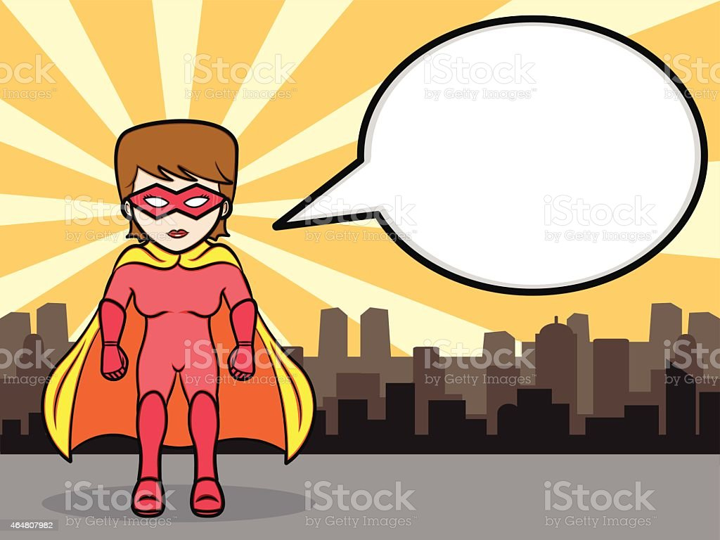 Superhero Girl Talk vector art illustration