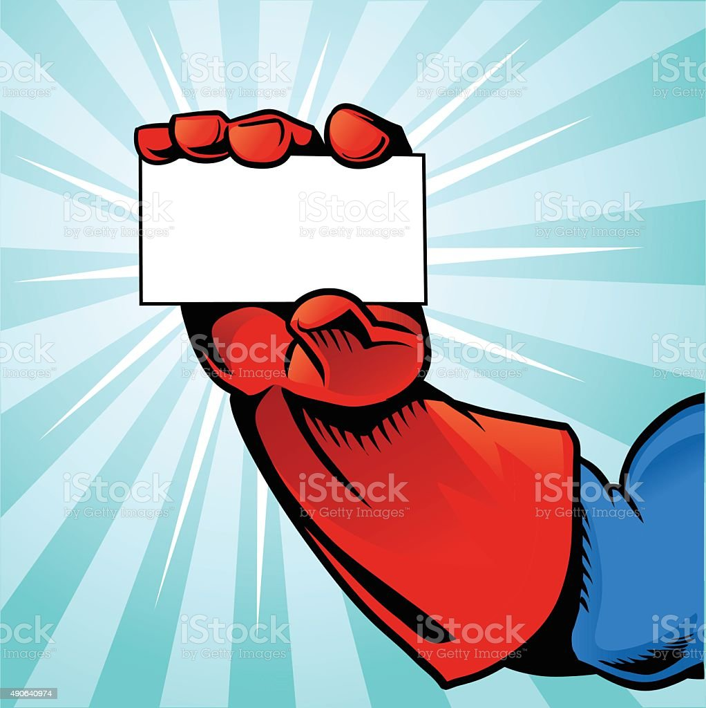Superhero Hand Holding Business Card - Blue Background vector art illustration