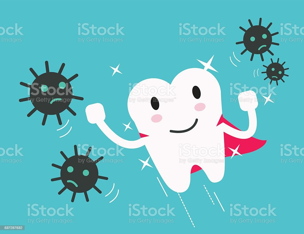 superhero healthy tooth attack bacteria and germ. vector art illustration