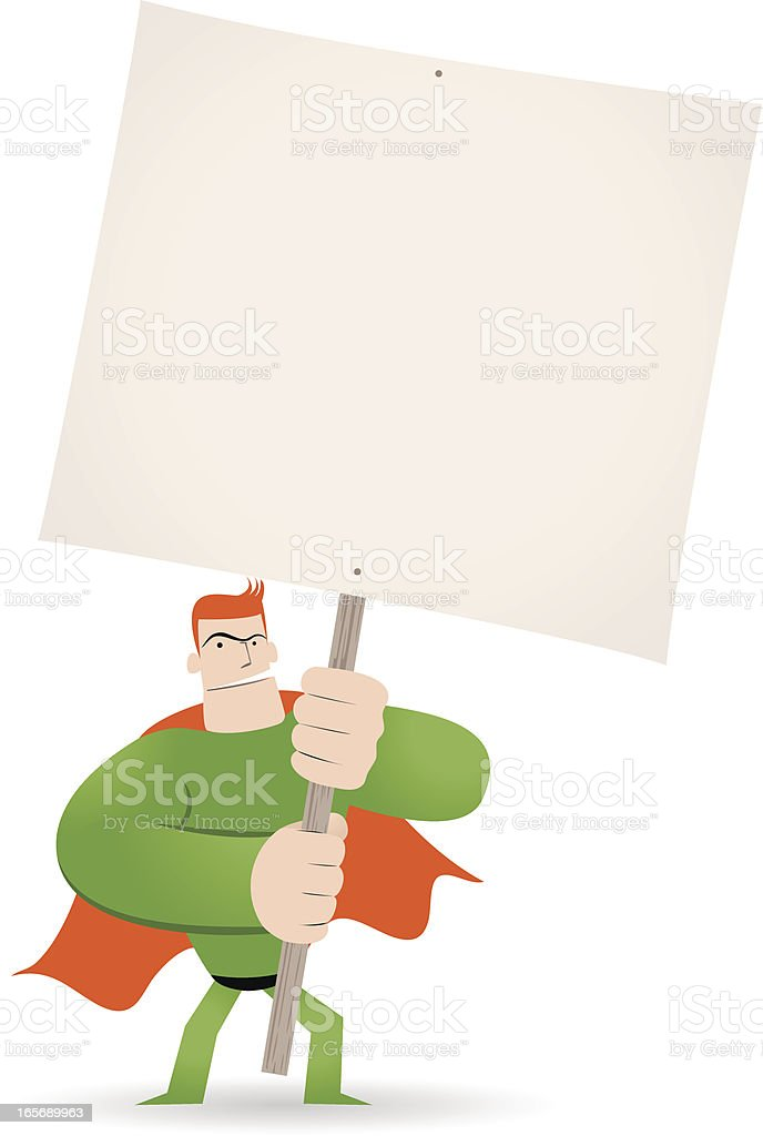 Superhero holding a blank sign for your message vector art illustration