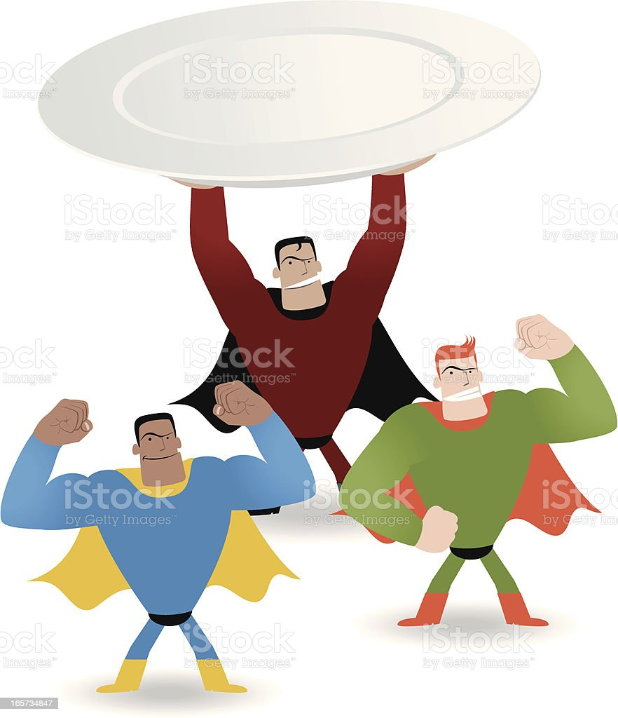 Superhero holding plate showing power  ( Good food make you strong ) royalty-free stock vector art