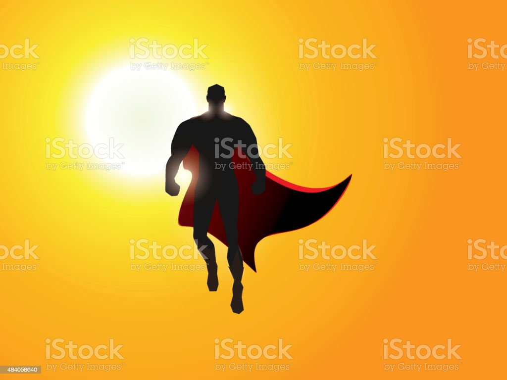 Superhero Hovering Above Clouds vector art illustration