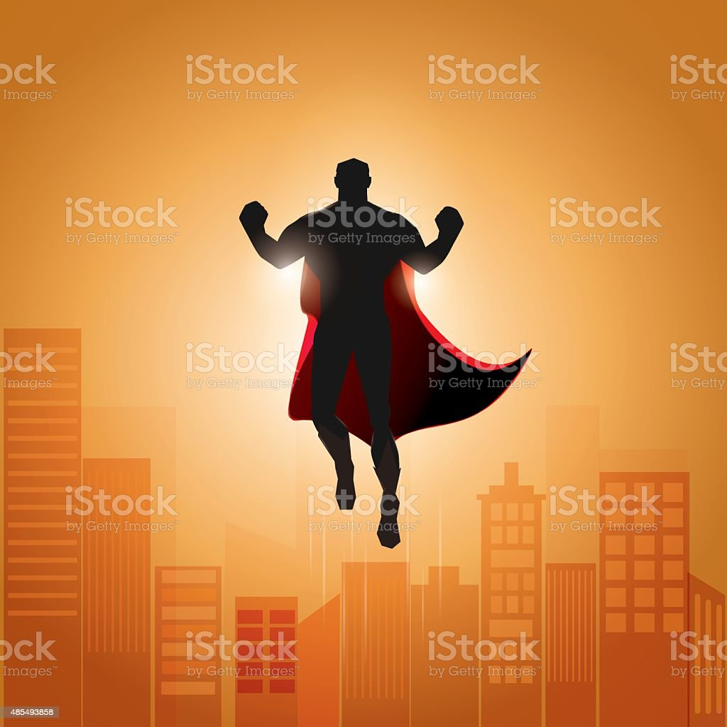superhero hovering in the sky. vector art illustration