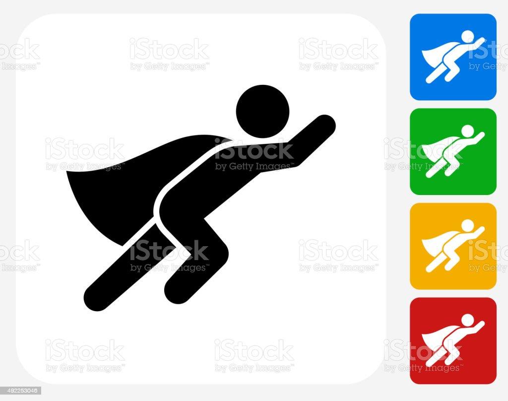 Superhero Icon Flat Graphic Design vector art illustration