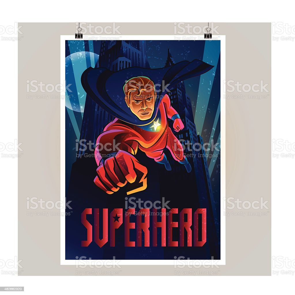 Superhero in action. Flying over night city. Poster layout vector art illustration