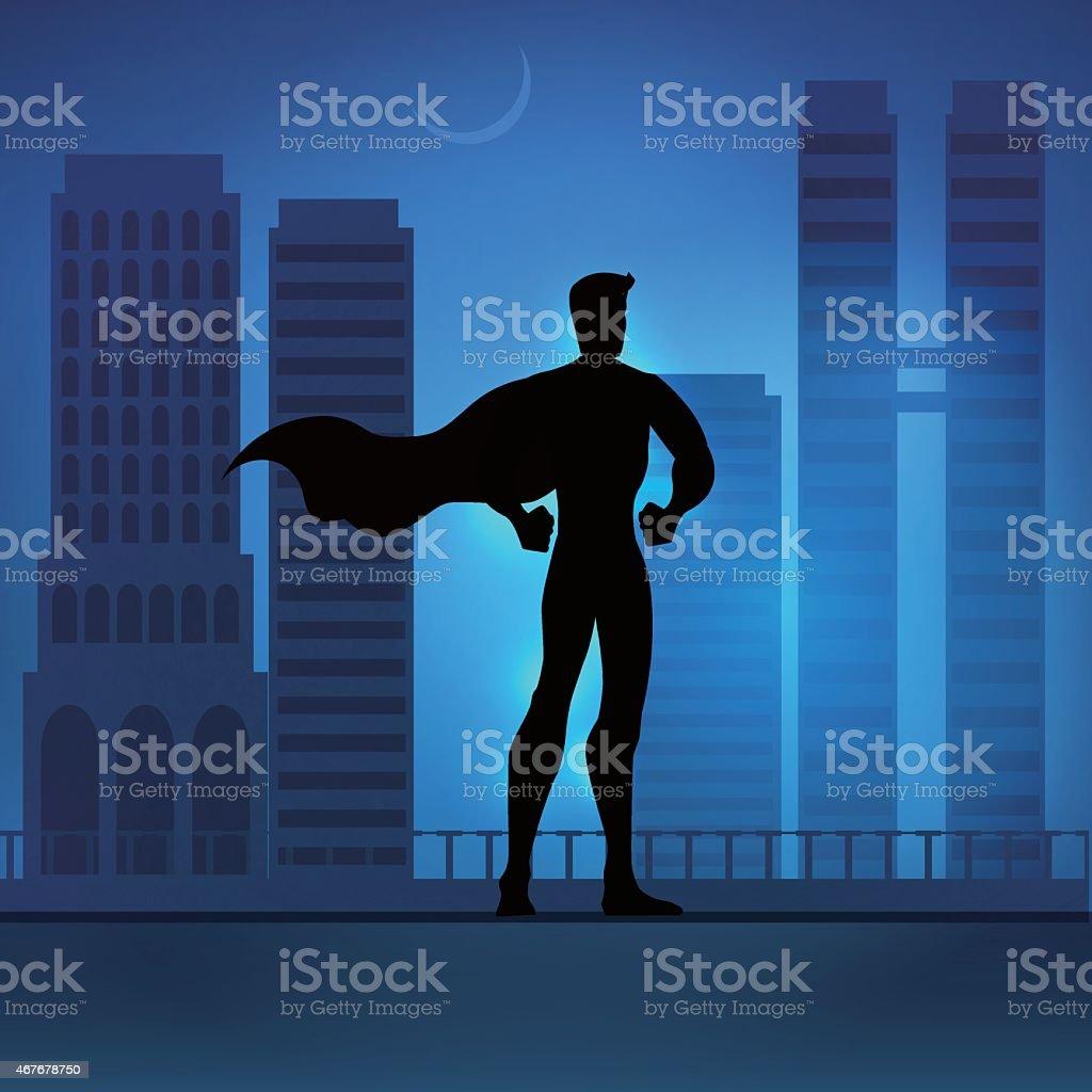 Superhero in City vector art illustration