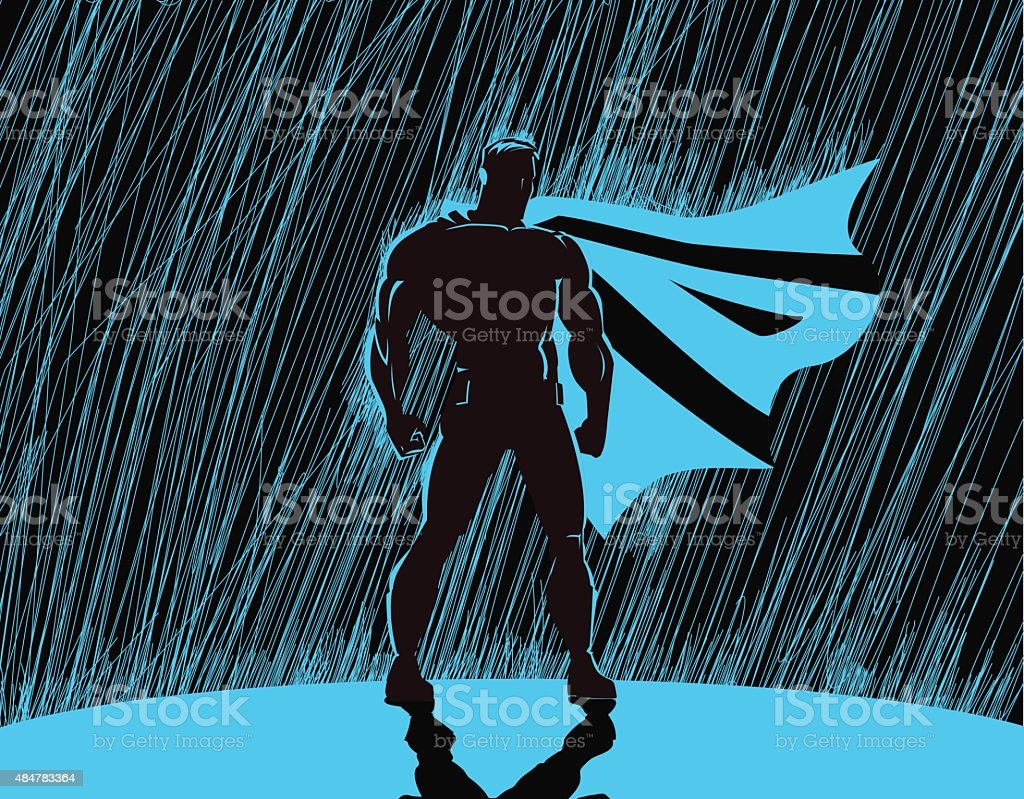 Superhero in rain vector art illustration