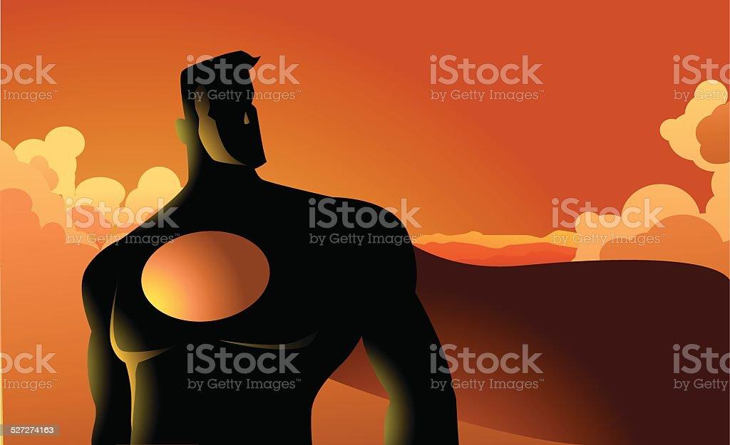 Superhero in the cloud silhouette vector art illustration