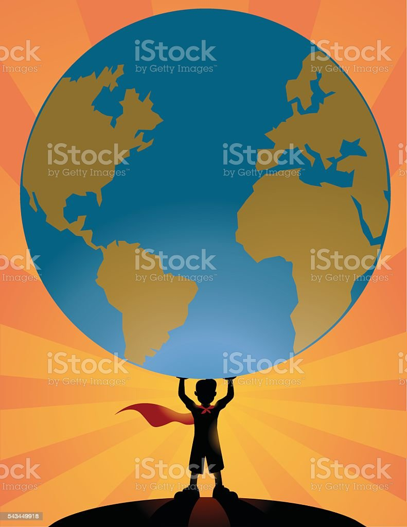 Superhero kid lifting a world globe vector art illustration