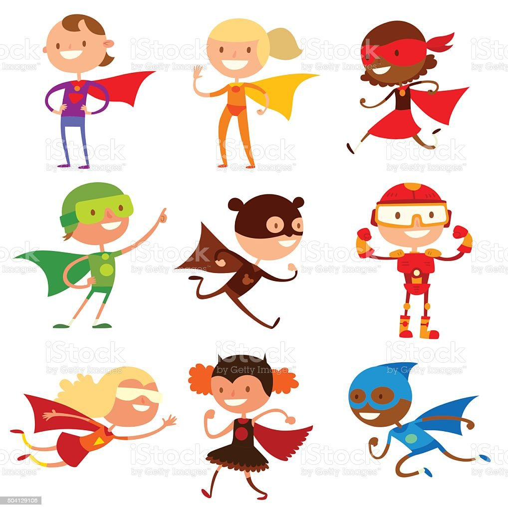Superhero kids boys and girls cartoon vector illustrationt vector art illustration