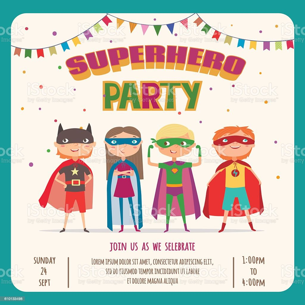 Superhero kids. Card invitation with group of cute kids vector art illustration