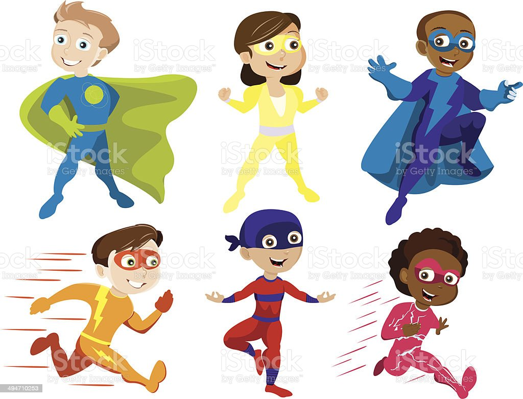 Superhero Kids vector art illustration
