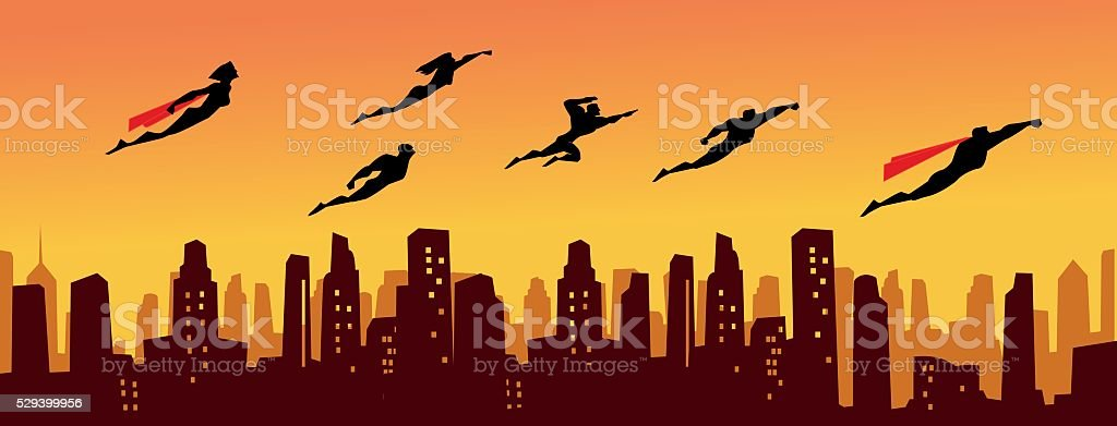 Superhero Legion above the City vector art illustration