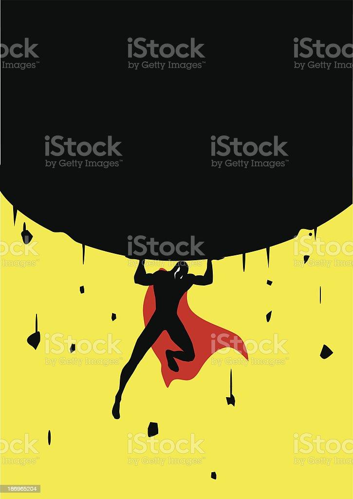 Superhero Lifts a Big Rock vector art illustration