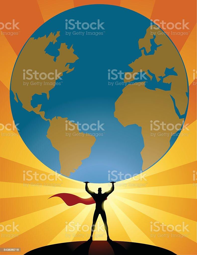 Superhero Lifts a Heavy Globe vector art illustration