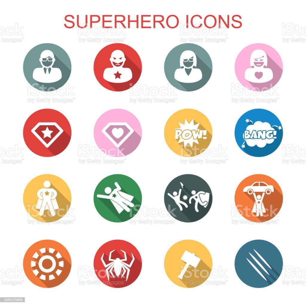 superhero long shadow icons vector art illustration