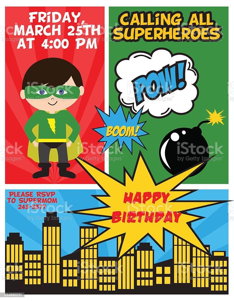 Superhero party vector art illustration