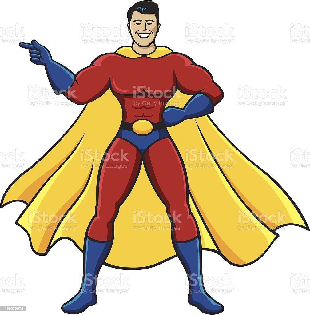 Superhero Pointing vector art illustration