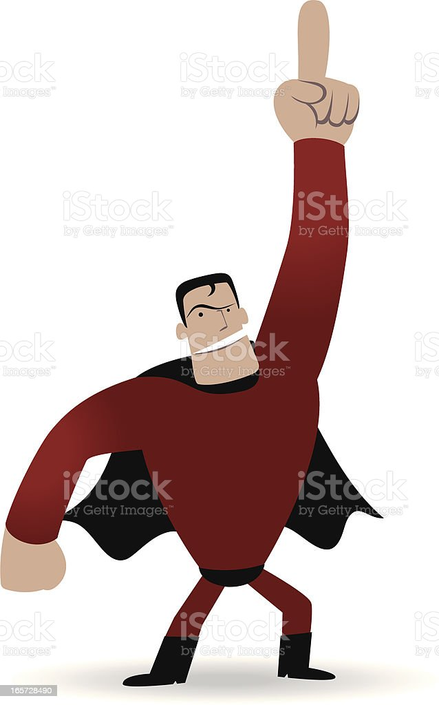 Superhero points upward by his index finger royalty-free stock vector art