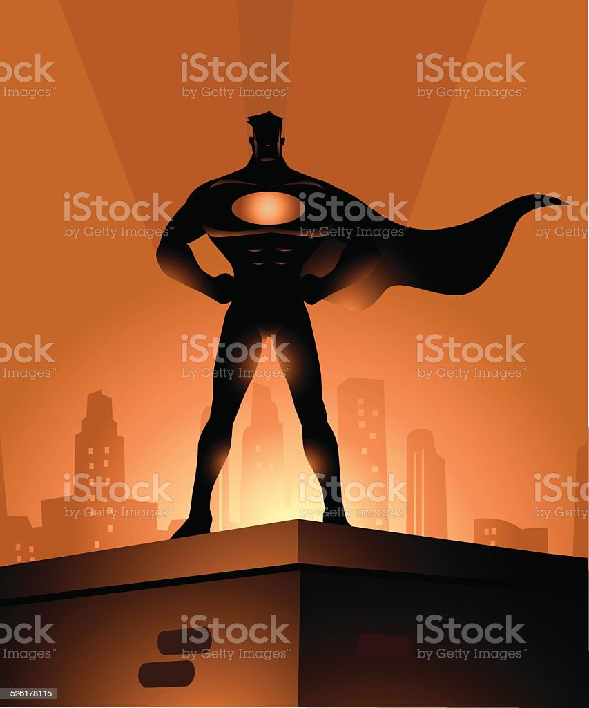 Superhero Protector of the City vector art illustration