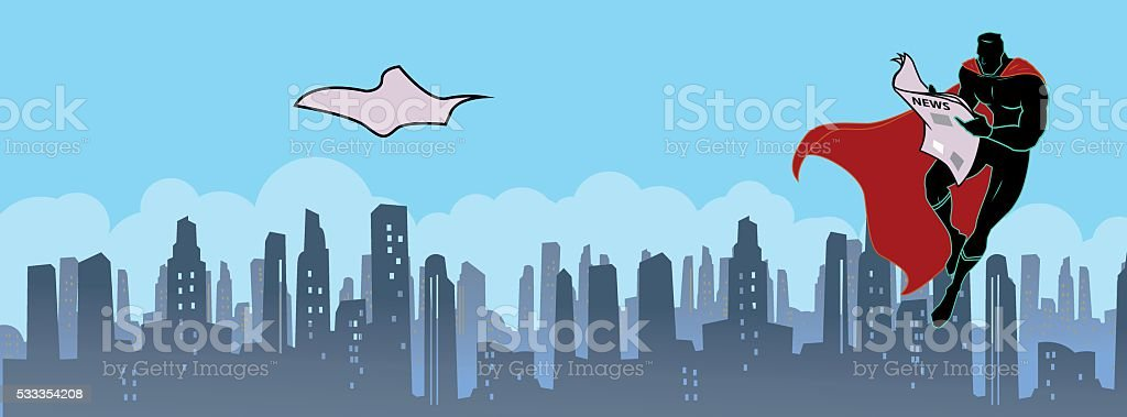 Superhero reading newspaper vector art illustration