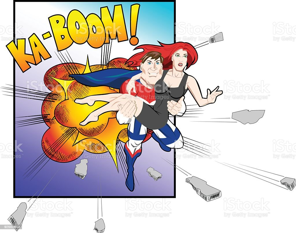 SuperHero Rescue royalty-free stock vector art