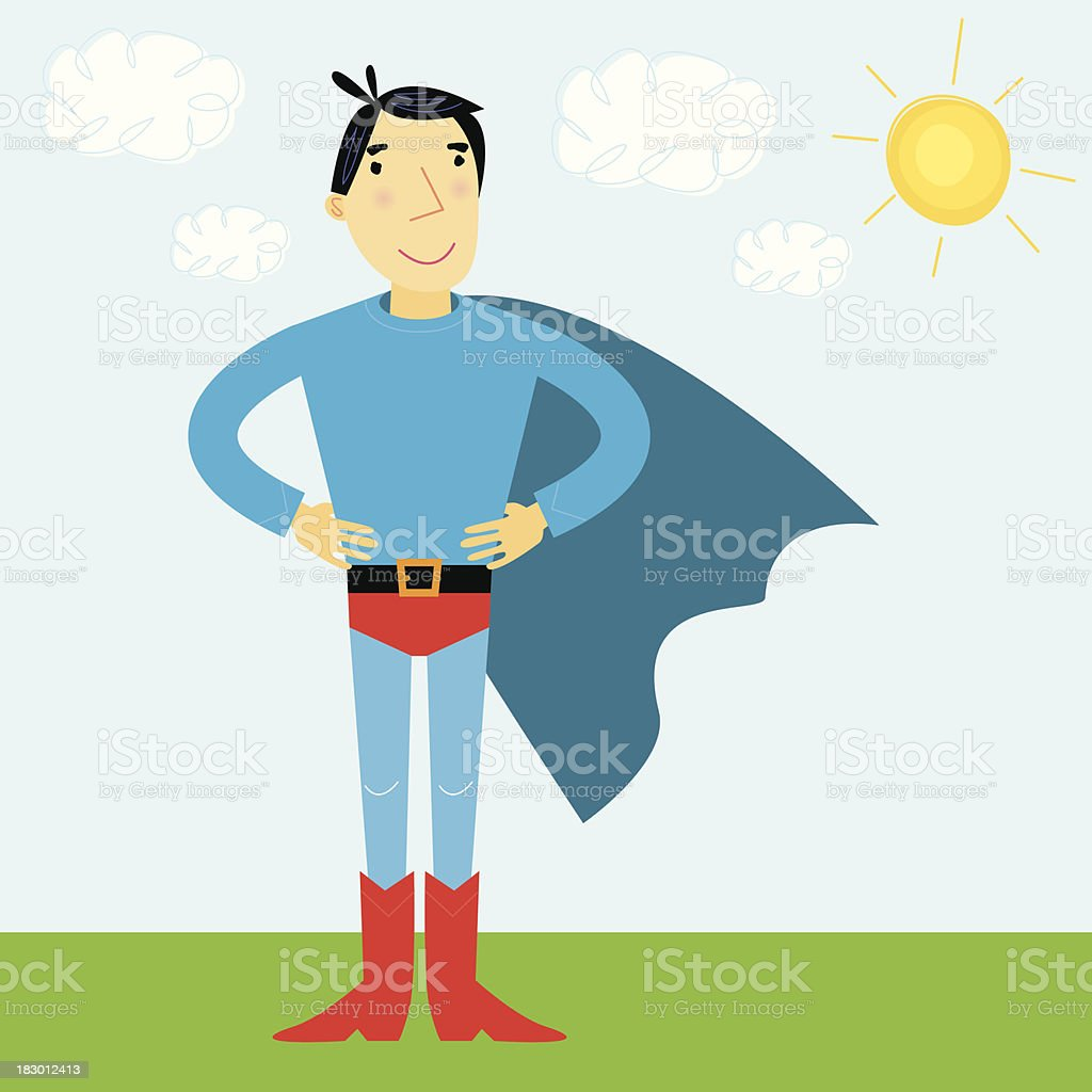 Superhero Scene vector art illustration
