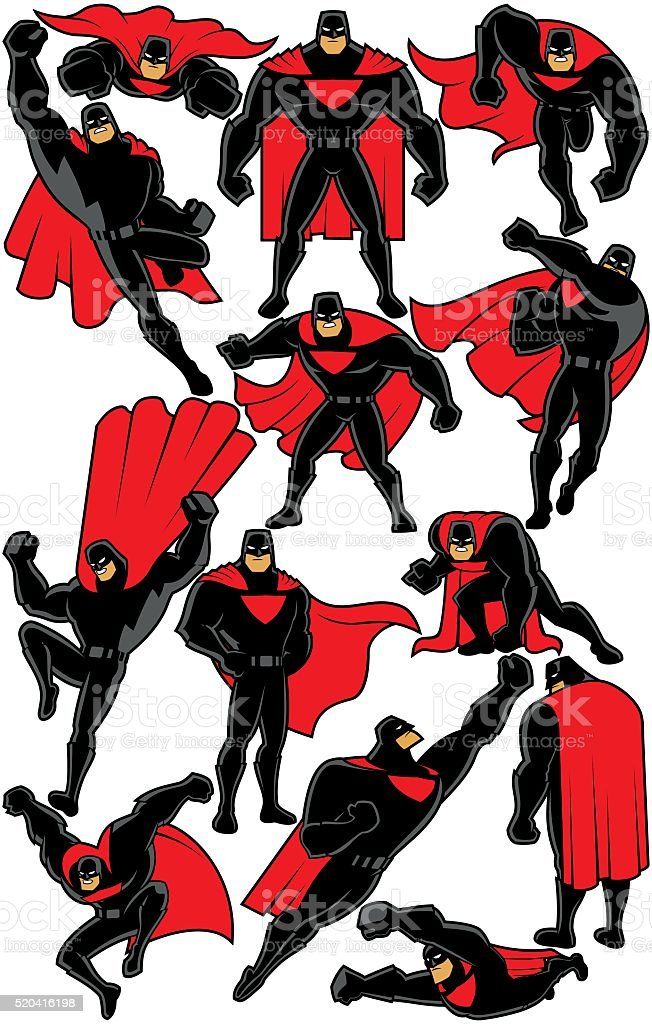 Superhero Set 2 vector art illustration