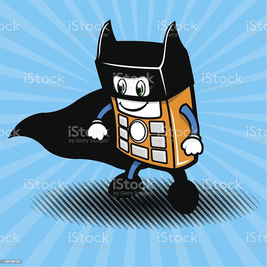 Super-hero smartphone illustration vector art illustration