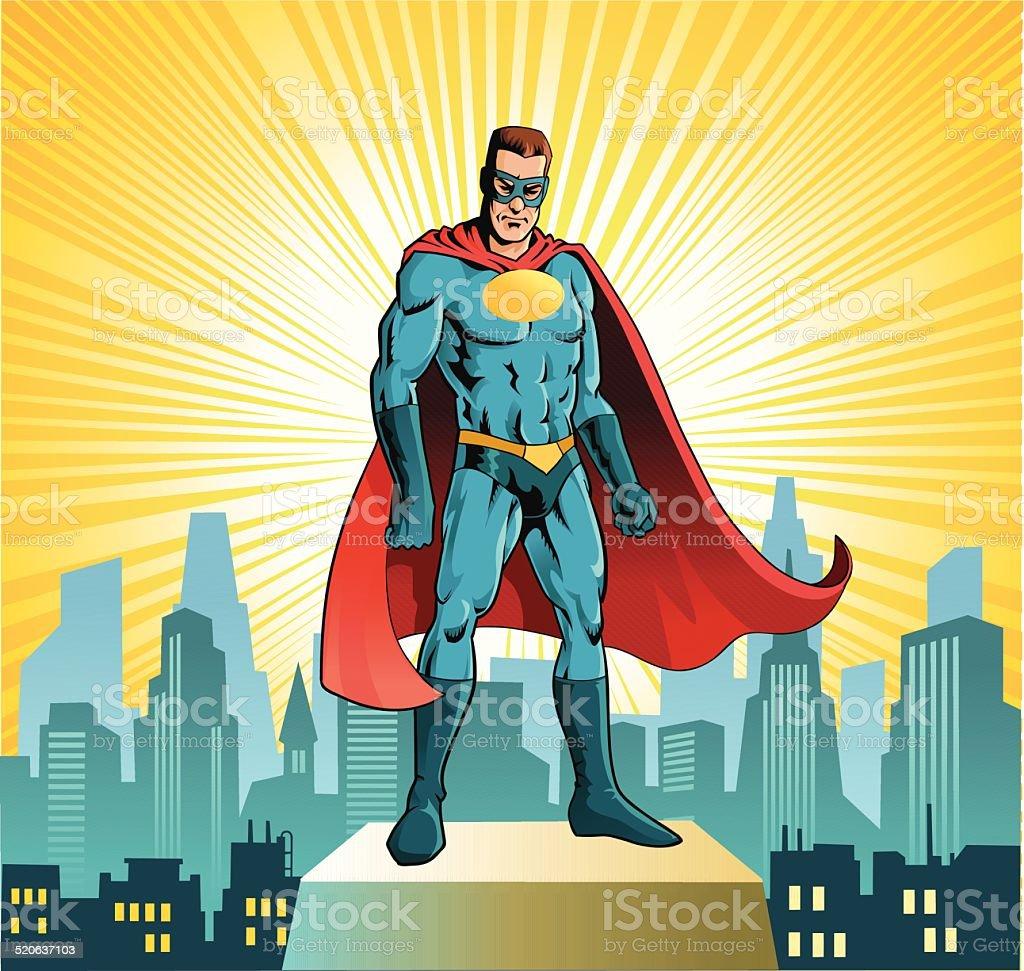 Superhero Standing Before City Skyline vector art illustration