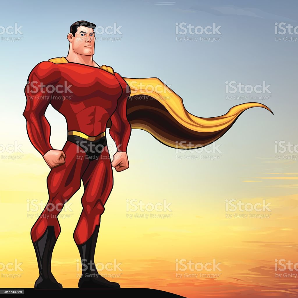 Superhero Standing vector art illustration
