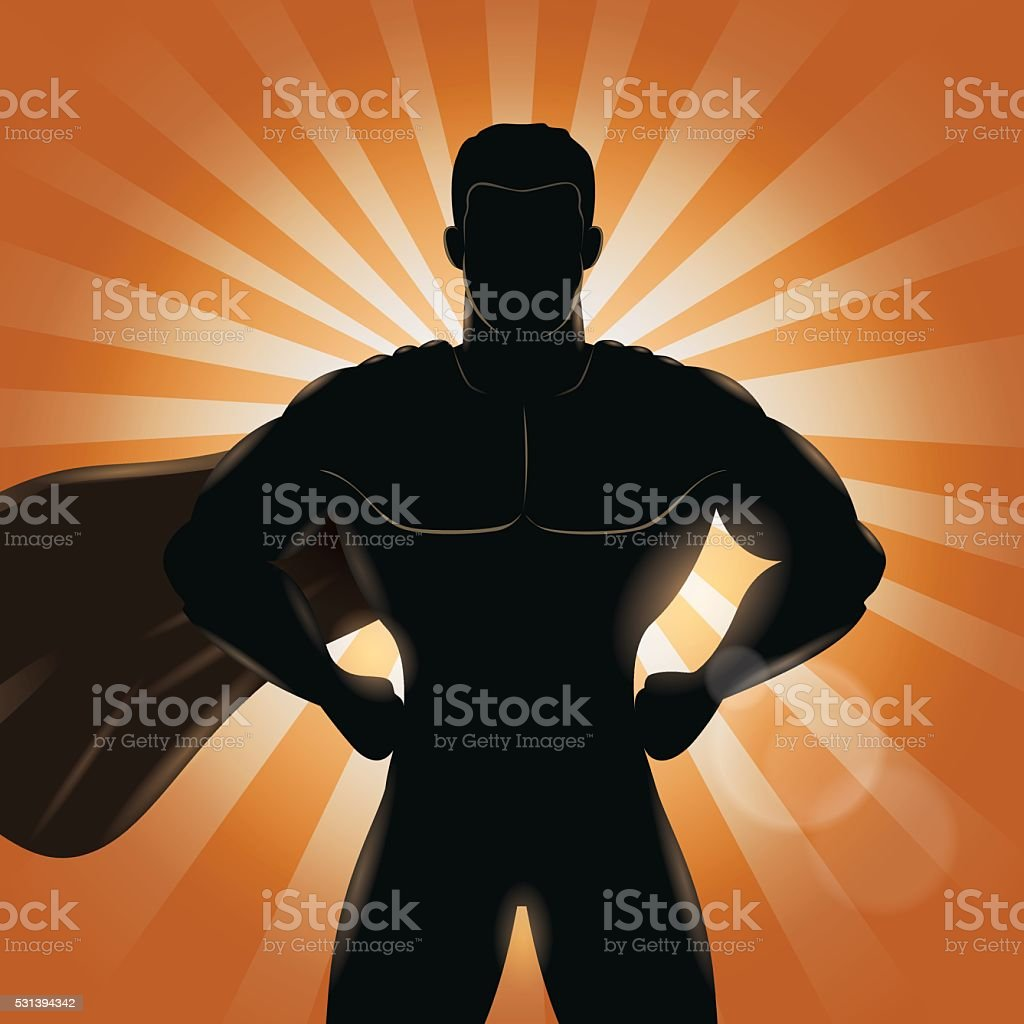 Superhero Standing with Hands on Hips Silhouette vector art illustration