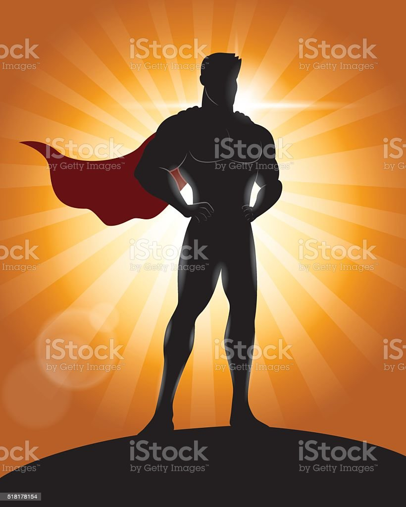 Superhero Standing with Pride and Confident Silhouette vector art illustration