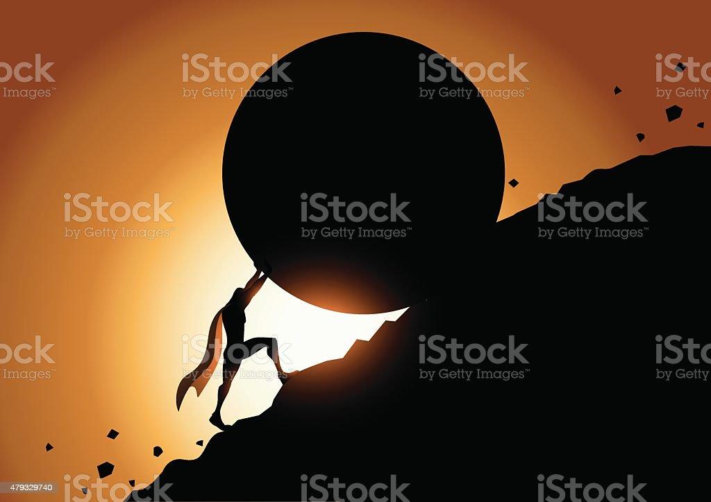 Superhero stopping a giant rolling rock vector art illustration